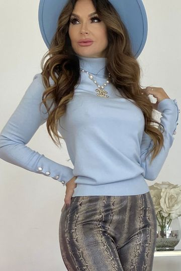 Yeah Baby Blue Turtleneck With Pearl Button Detail