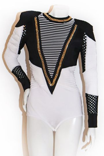Balmain Black and White Bodysuit with Gold Chain Detail SS 2018