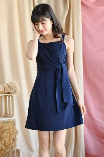Berte Front-Tie Wrap Dress Midnight