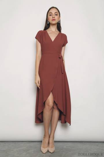 Emily Tie Waist Midi Dress Dusty Rose