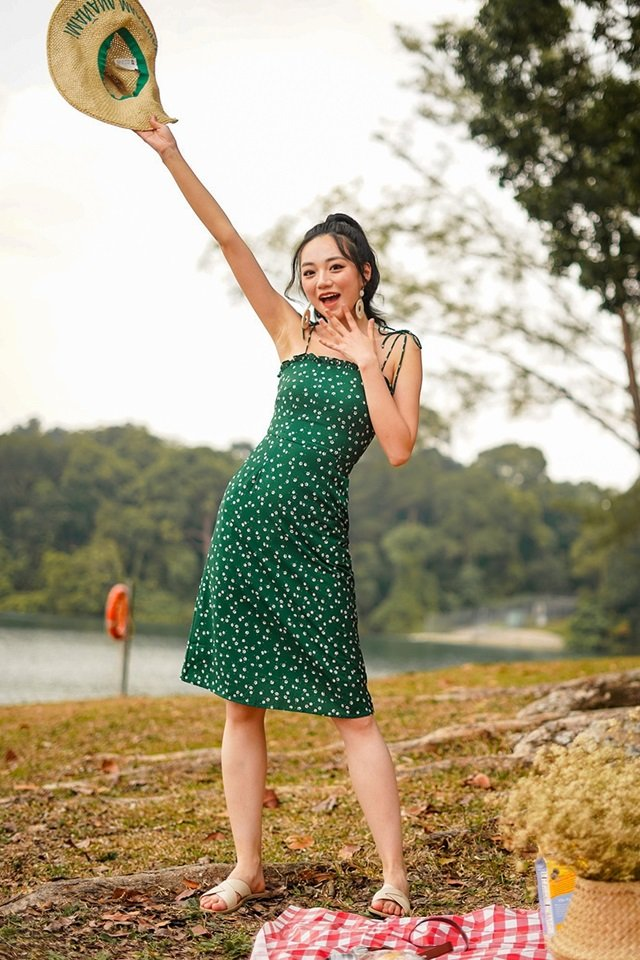DOROTHY FLORAL TIE-STRING MIDI DRESS #MADEBYLOVET (FOREST GREEN)