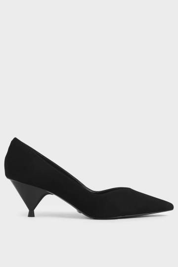Kid Suede Cone Heel Pumps