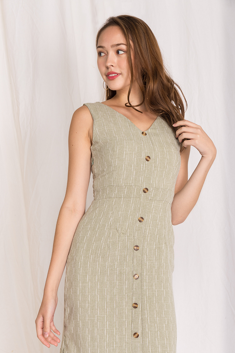 Rosa Patterened Flutter Hem Dress in Sage
