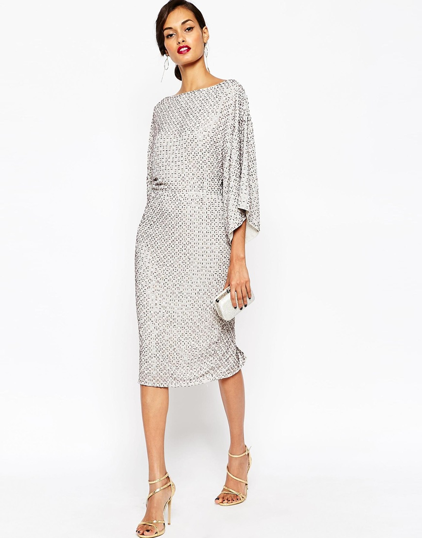 Asos Red Carpet Sequin Grid Kimono Midi Dress Shopperboard