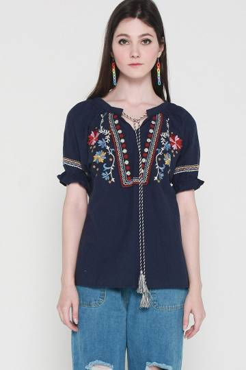 Izzie Embroidery Top in Blue