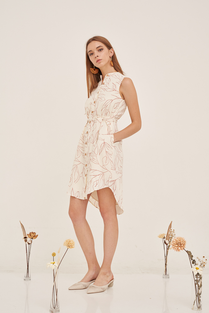 PERRIE Button Tie Dress in Cream, By LVG