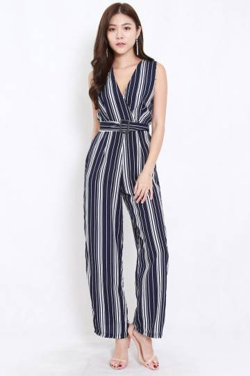 Stripes Belted Jumpsuit (Navy)