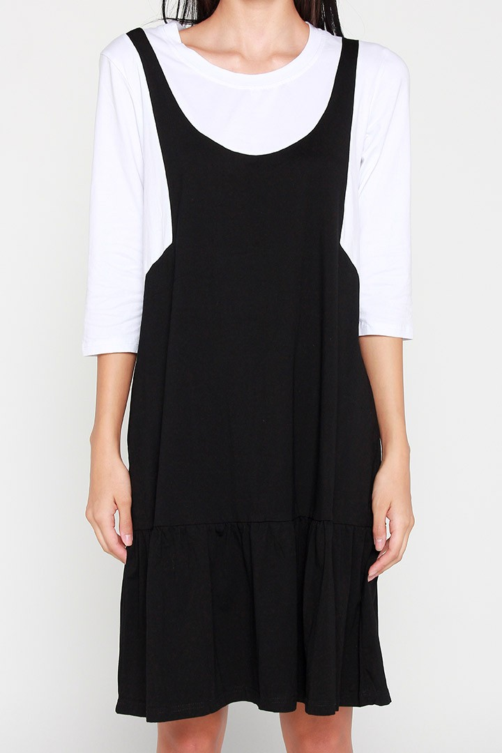 Demi Colourblock Dress in Black White