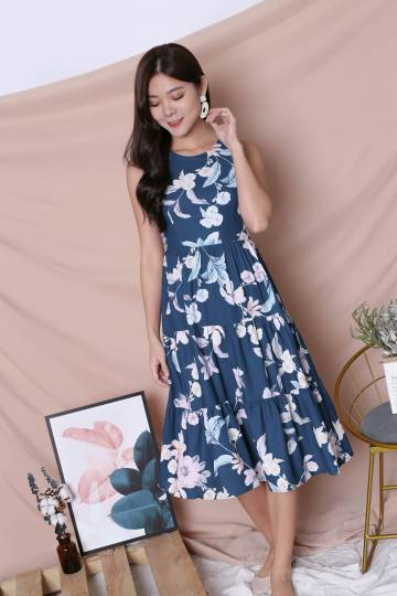 *TPZ* (PREMIUM) ARIANA TIER DRESS IN DARK TEAL FLORALS (VERSION 2)
