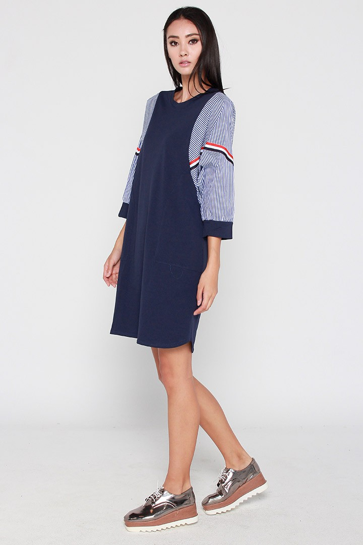 Emma Stripe Sports Luxe Dress in Blue
