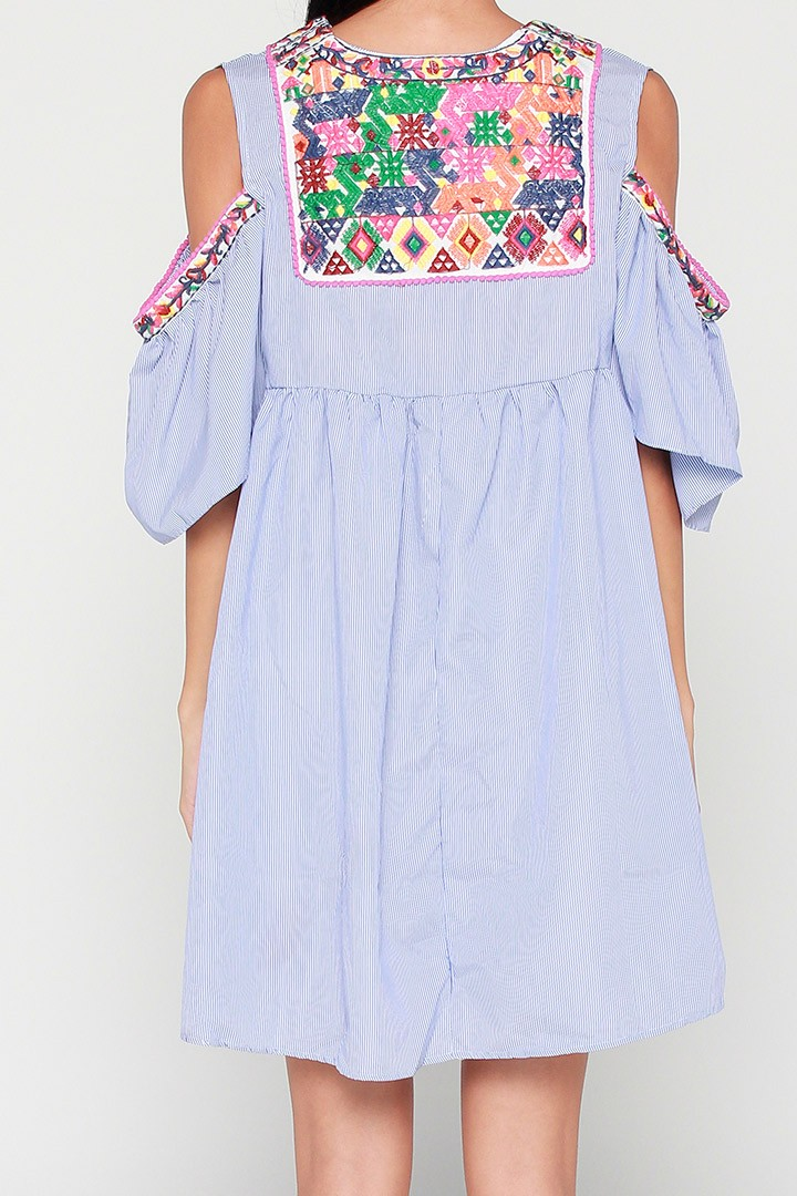 Emilie Embroidery Dress in Blue