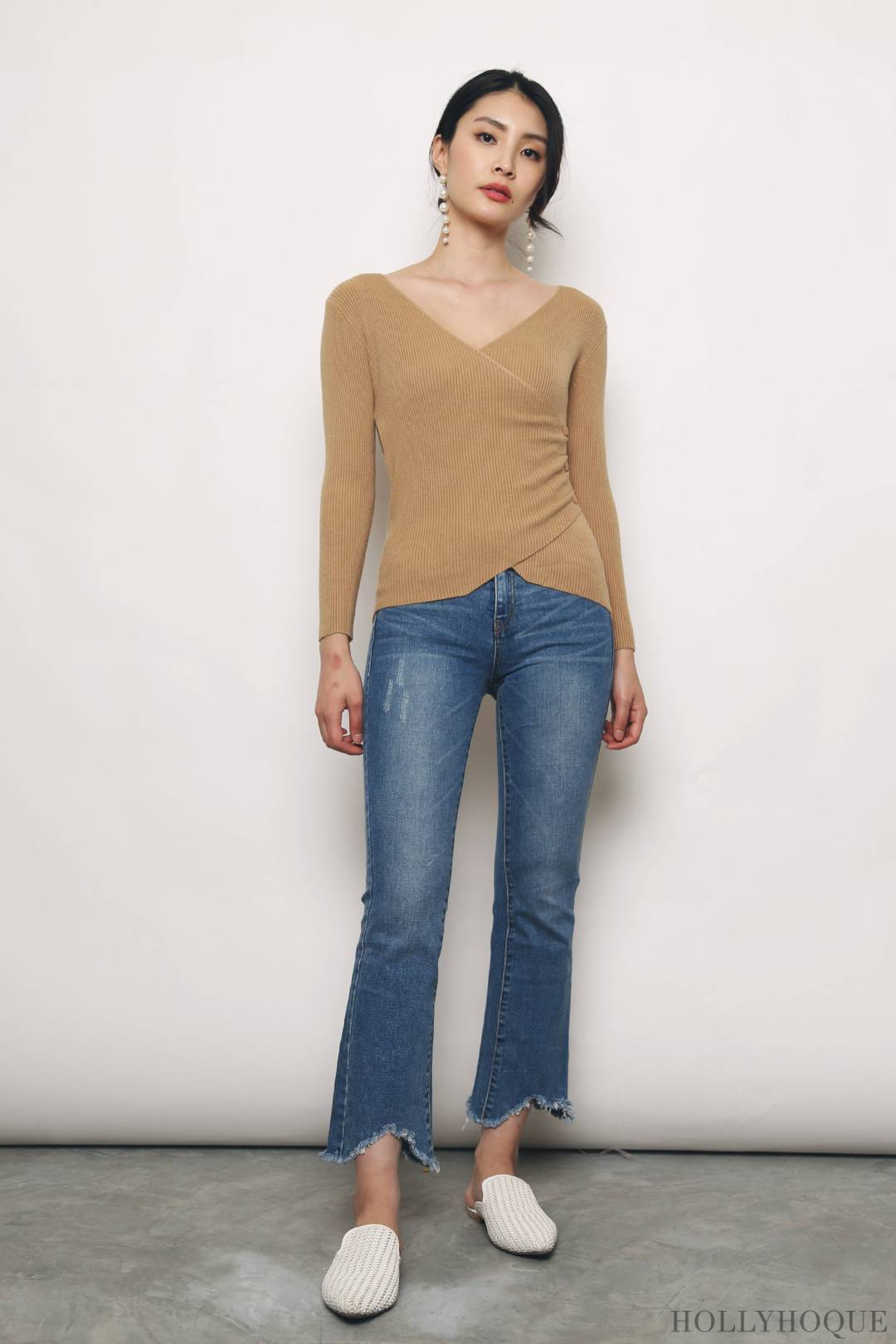 Esther Overlap Knit Top Brown