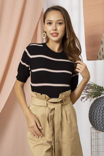 Mia Striped Block Knit Top in Black