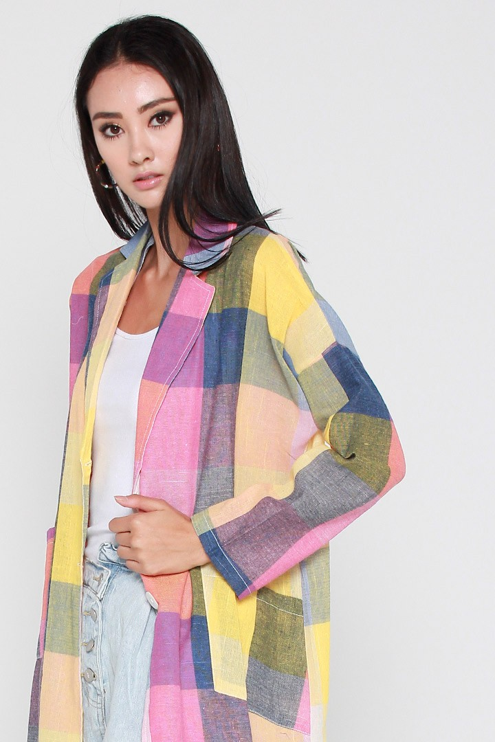 Moxie Checkered Jacket in Pink Yellow Blue