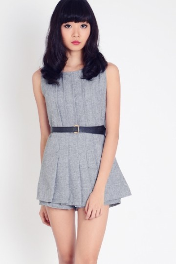 Grey Gradient Pleated Front Romper | Lacepipe