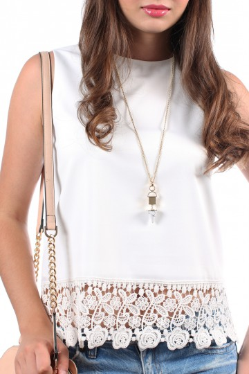 *BACKORDER* Maximals Pointed Tip Necklace in White Marble