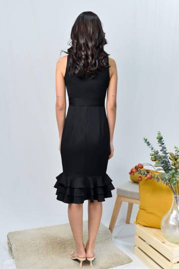 ASYI BLACK TIERED WORK DRESS