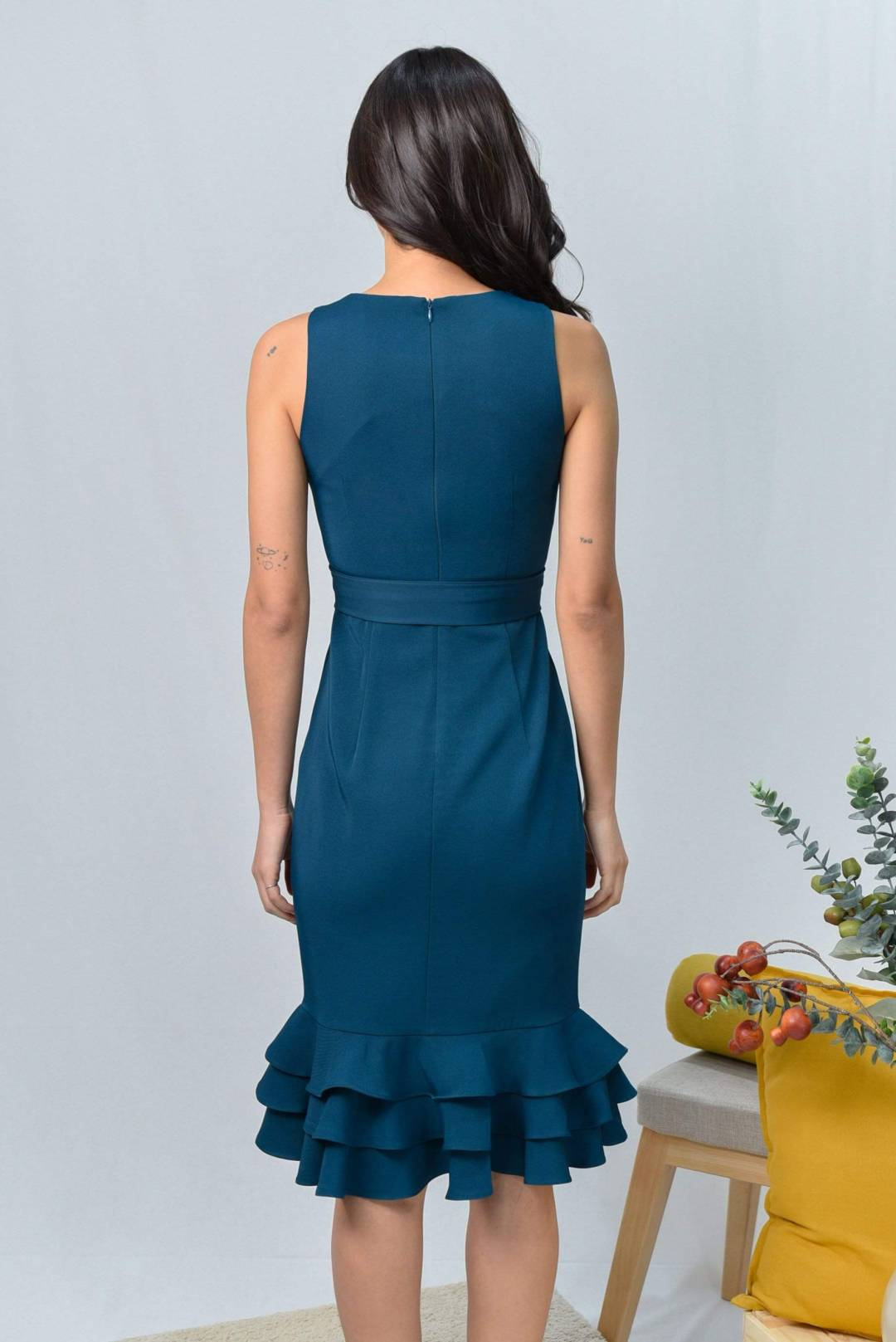 ASYI TEAL TIERED WORK DRESS
