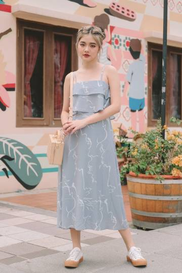 Trixie Abstract Midi Dress in Powder Blue