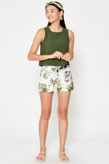 MYLIE PALM TREES LINEN SHORTS