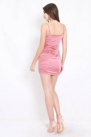 Kylie Ruched Dress (Pink)