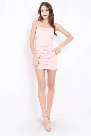 Kylie Ruched Dress (Blush)