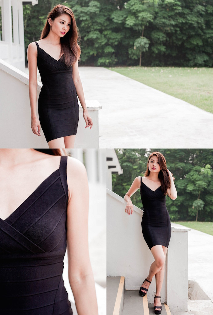 Charlotte Statement Bandage Bodycon in Black *LAST FEW!*