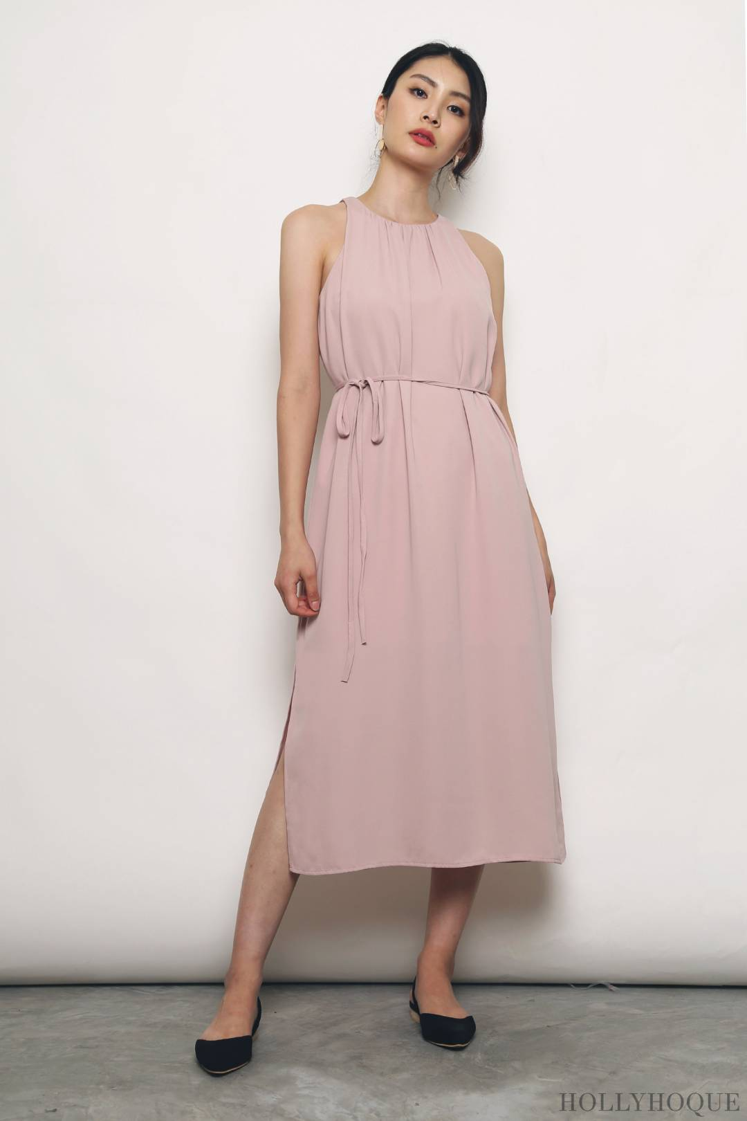 Ashlee Pleated Racer-front Dress Pink