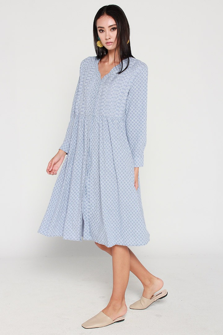 Olivia Printed Dress in Light Blue