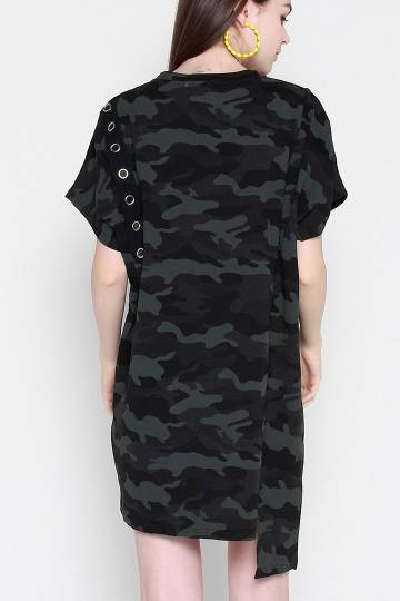 Backorders Sakae Eyelet Ring Camo Dress in Green Black