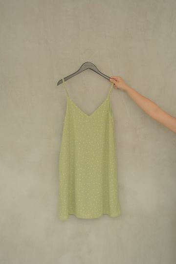 Daily Cami Dress in Green Splattered Hearts