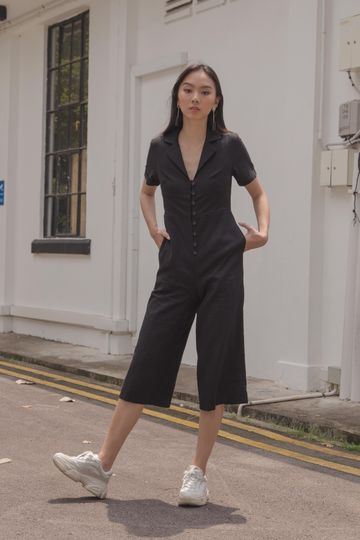 Boundless Buttons Jumpsuit in Black
