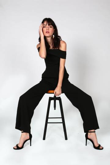 Seira Cold Shoulder Jumpsuit (Black)