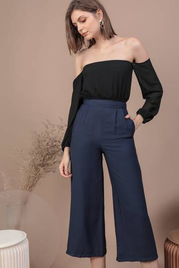 Dione Linen Culottes (Navy)