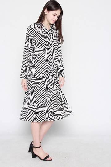 Cara Stripe Shirt Dress in White Black