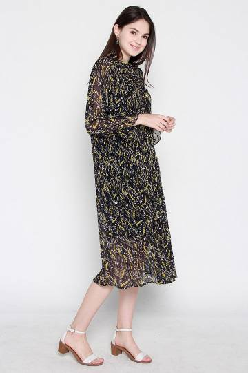 Thea Printed Chiffon Dress in Black Yellow