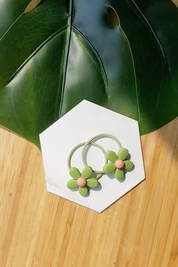 Green Flower Hair Tie