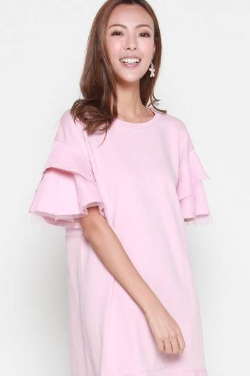 Loxie Mesh Dress in Pink