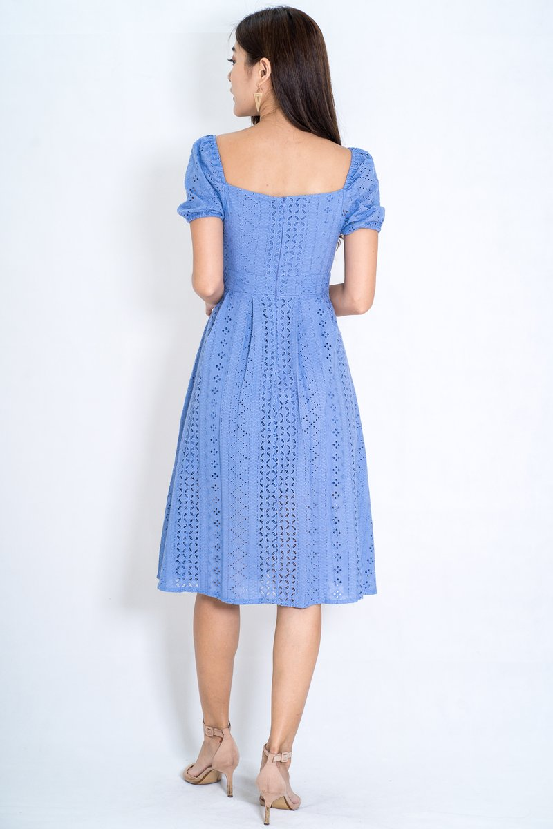 Ashlin Eyelet Sleeves Dress In Blue (Size M)