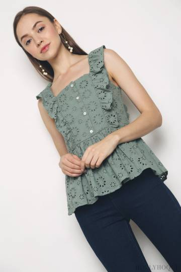 Cooper Eyelet Sleeveless Top Mint