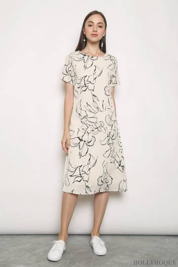 Journey Floral Midi Dress Malt