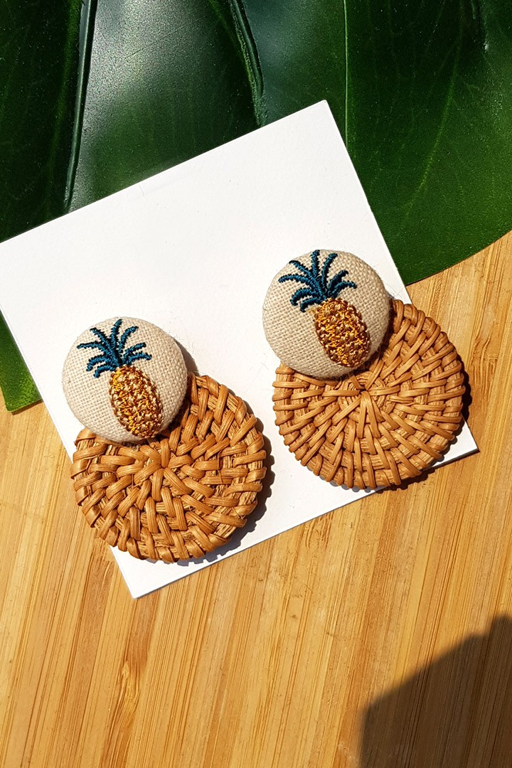 Pineapple Ratten Earrings