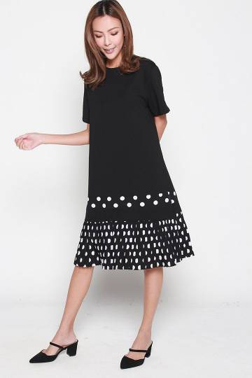 Bambina Pleated Polka Dot Dress in Black White