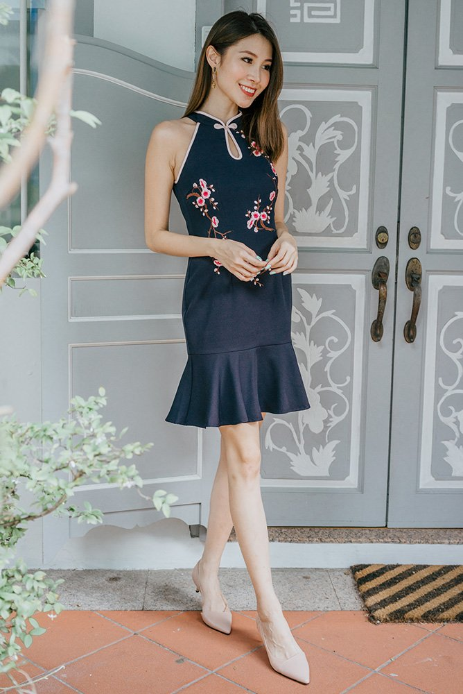 *MadeByFB* Olifaye Halter Neck Embroidery Cheongsam Dress (Navy)