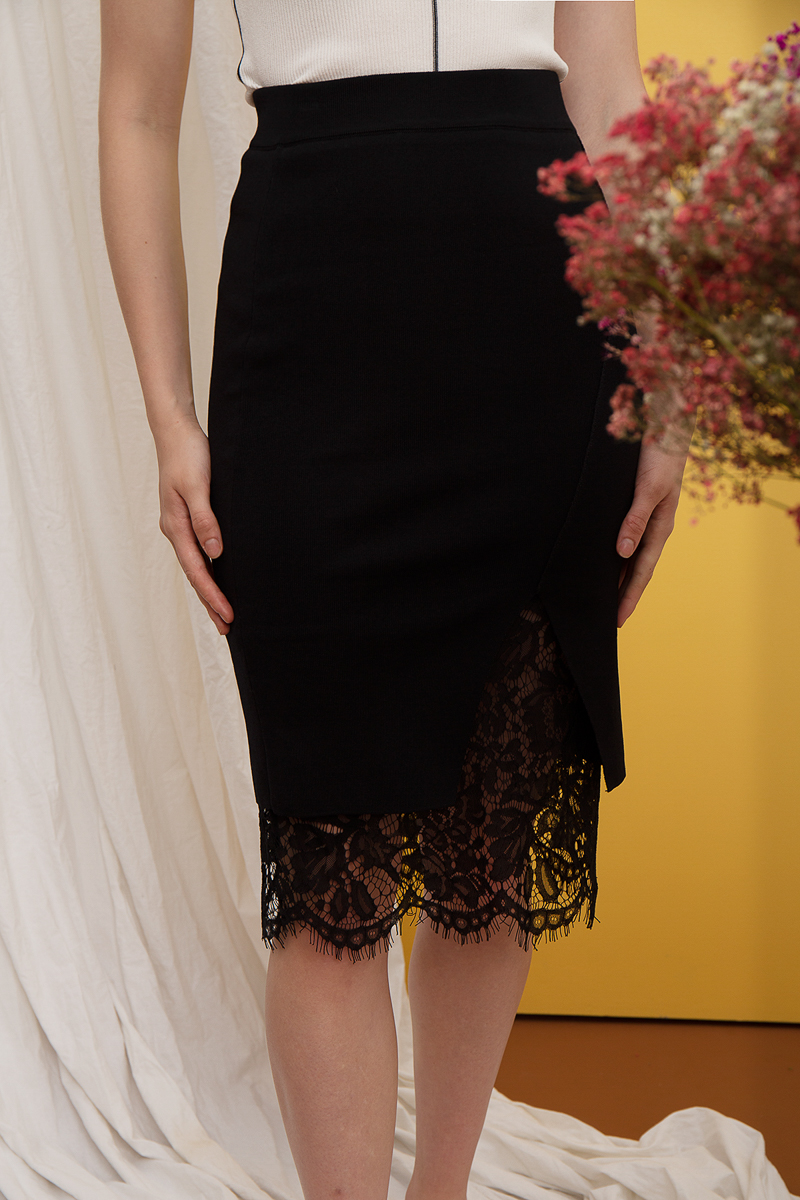 Elian Lace Insert Pencil Skirt
