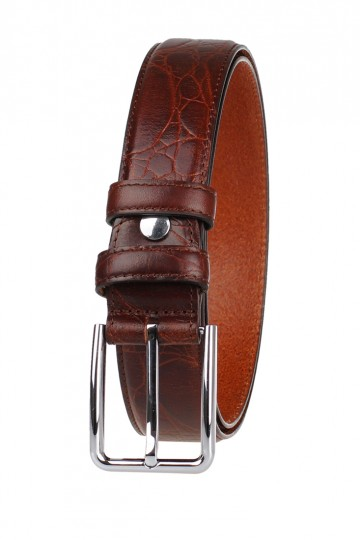 Men Italian Leather Belt Light Brown