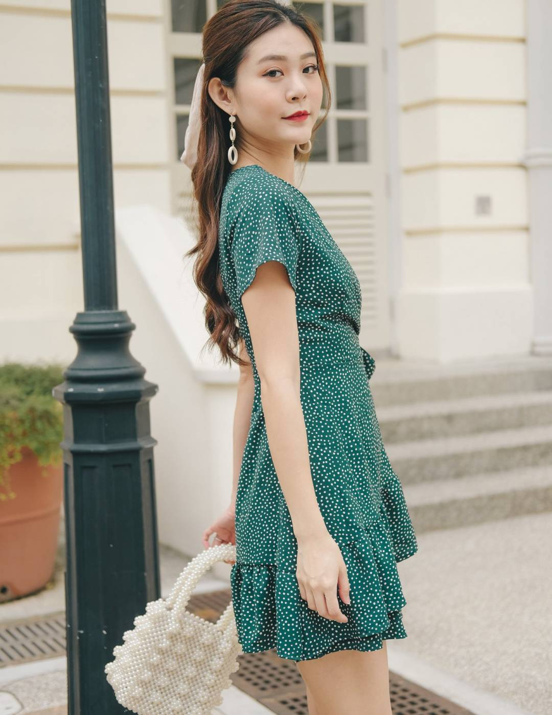 Glenna Polka Dot Dress in Forest Green