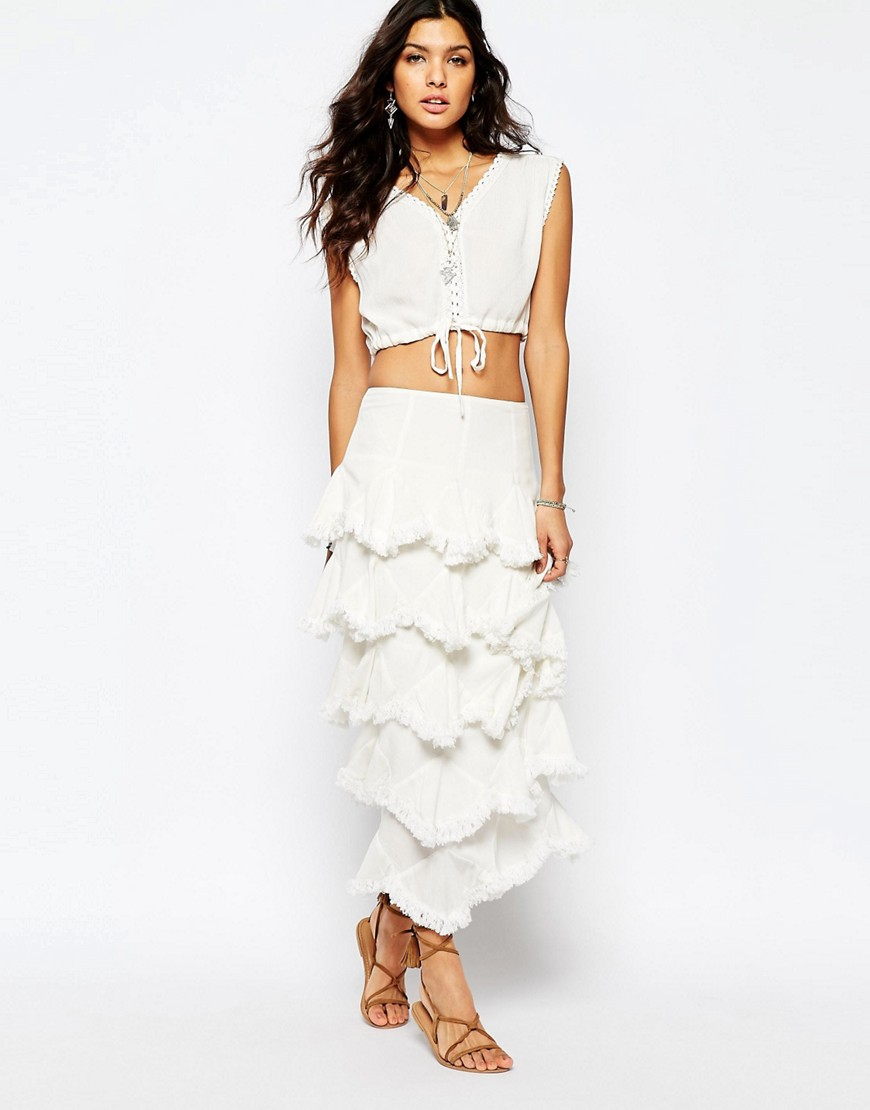 888fe4776c Stevie May Kick Up Your Heels Ruffle Maxi Skirt in White - ShopperBoard