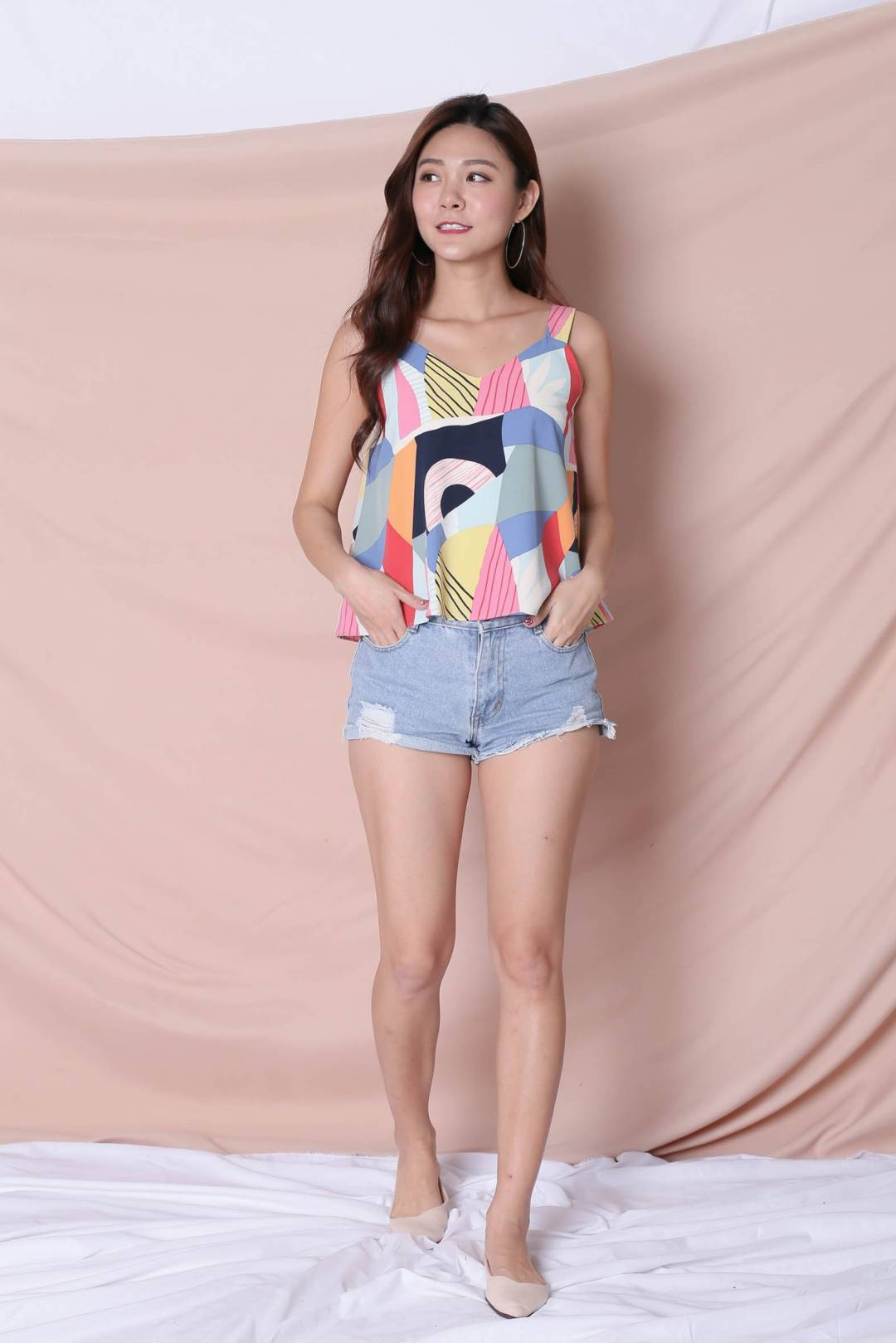 (PREMIUM) THE COLOURFUL ABSTRACT 2 WAY TOP (VERSION 1) BLUE/ PINK