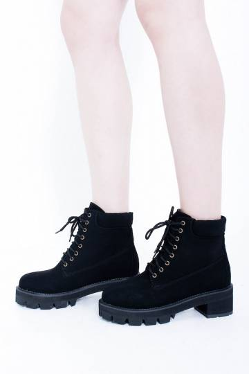 PREMIUM Charlotte Suede High-Cut Boots in Black [IMPORTED] *EXTRAS from BOs*